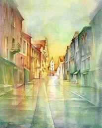 Straße, Malerei, Haus, Sonne