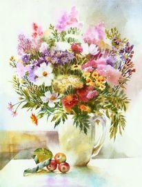 Apfel, Malerei, Stillleben, Blumen