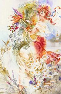 Symbol, Frau, Aquarellmalerei, Figural