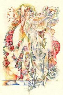 Natur, Aquarellmalerei, Blumen, Stofffalten