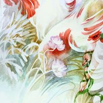 Gras, Pflanzen, Aquarellmalerei, Frau