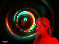 Figural, Licht, Kreis, Rot schwarz