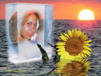 Eis, Meer, Frau, Sonnenblumen