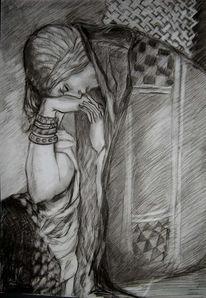 Zeichnung, Deirdre, Skizze, Frau