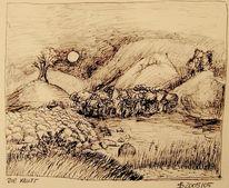 Skizze, Kluft, Berge, Zeichnung