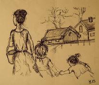 Kinder, Frau, Skizze, Zeichnungen