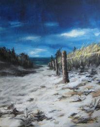 Ostsee, Blau, Dünen, Acrylmalerei