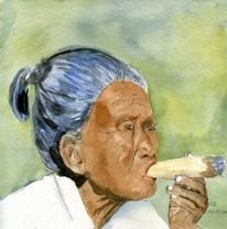 Malerei, Portrait, Figural, Zigarre