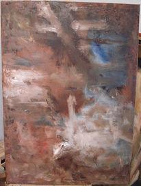 Malerei, Blau, Braun, Abstrakt