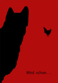 Rot schwarz, Hund, Huhn, Plakatkunst