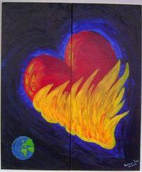 Herz, Erde, Acrylmalerei, Flammen