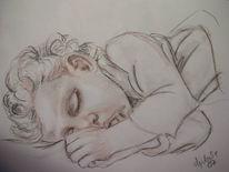 Schlaf, Daumen, Portrait, Sepia