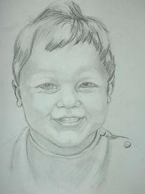 Lachen, Bleistiftzeichnung, Kind, Portrait