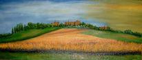 Sonne, Landschaft, Toskana, Ölmalerei