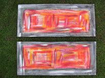 Abstrakt, Teil, Fenster, Acrylmalerei