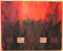Rot, Lodernd, Feuer, Malerei