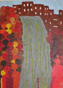 Rot, Abstrakt, Laufen, Acrylmalerei