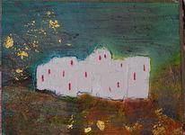 Abstrakt, Haus, Malerei, Acrylmalerei