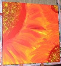 Malerei, Sonnenblumen, Rot, Acrylmalerei