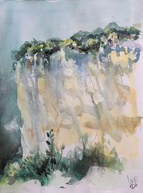 Landschaft, Felsen, Frankreich, Aquarell