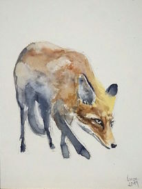 Fuchs, Wald, Tiere, Aquarell
