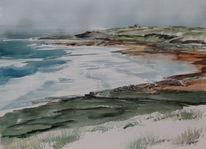 Irland küste fanore, Aquarell, Küste