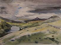 Irland, Berge, Aquarell, Pass