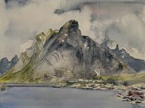 Lofoten, Norwegen, Berge, Aquarell