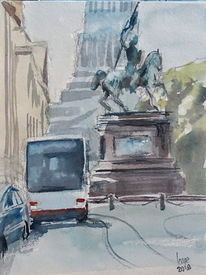 Brüssel, Belgien, Place royale, Aquarell