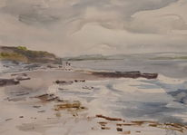 Strand, Irland, County clare, Aquarell
