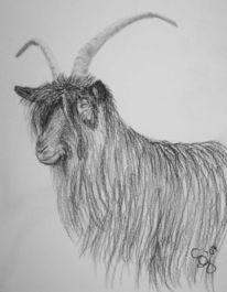 Figural, Schwarzhalsziege, Tiere, Malerei