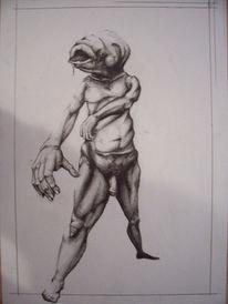Surreal, Akt, Zeichnung, Fisch