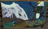 Vogel, Malerei, Nest, Landschaft