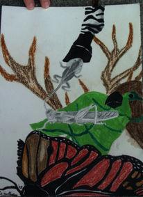 Heuschrecke, Vogel, Schmetterling, Figural