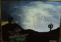 Gewitter, Malerei, Kaktus, Landschaft