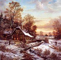 Malerei, Landschaft, Mühle, Winter