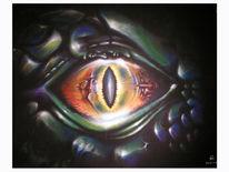 Reptil, Malerei, Augen, Surreal