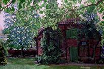 Malerei, Landschaft, Bauernhaus