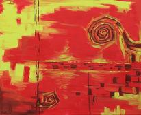 Abstrakt, Malerei, Venedig, Flammen