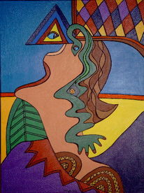 Intarsienbilder, Akt, Malerei, Frau
