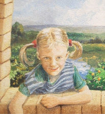 Portrait, Kind, Malerei, Figural