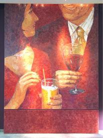 Spachteltechnik, Malerei, Rot,