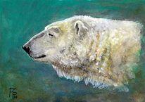 Malerei, Eisbär, Figural, Tierportrait