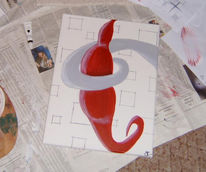 Abstrakt, Malerei, Quadrat, Rot
