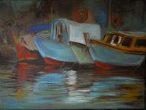 Boot, Decke, Weiß, Holz