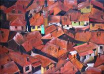 Dach, Stadt, Haus, Malerei