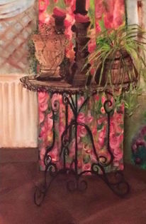 Tisch, Keramik, Vorhang, Holz