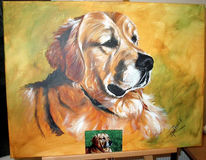 Hund, Portrait, Acrylmalerei, Pinnwand