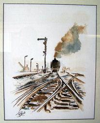 Bahnhof, Ankunft, Eisenbahn, Rad