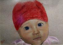 Portrait, Kind, Pastellmalerei, Zeichnung